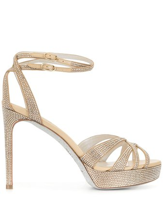 René Caovilla crystal embellished satin sandals - FARFETCH