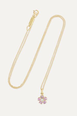 Gold Flower 18-karat gold, sapphire and diamond necklace | Jennifer Meyer | NET-A-PORTER