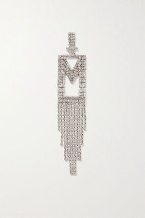 Silver Alphabet rhodium-plated crystal earring | Retrofête | NET-A-PORTER