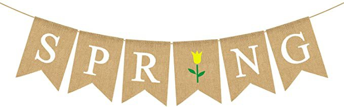 Amazon.com: Jute Burlap Spring Banner with Flower Home Mantel Fireplace Decoration: Kitchen & Dining