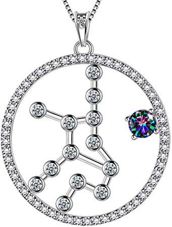 Amazon.com: Zodiac Necklace Women 12 Constellation Horoscope Sign 925 Sterling Silver Mystic Rainbow Topaz Astrology Star Pendant Birthday Gifts Fire Topaz Present DP0218G: Jewelry