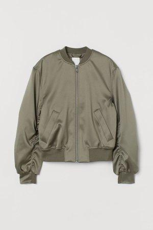 Satin Bomber Jacket - Khaki green - Ladies | H&M CA