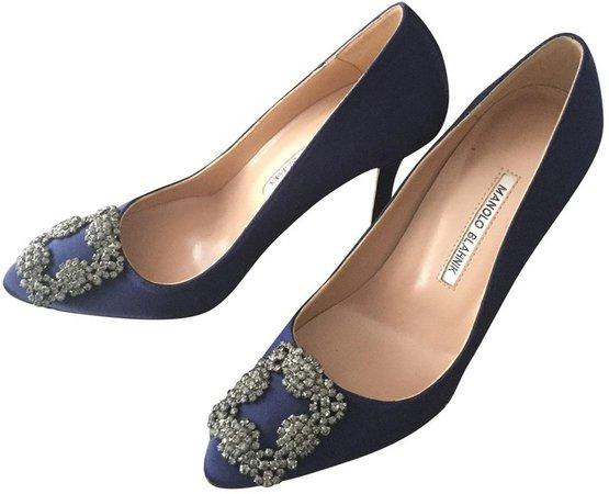 Hangisi Navy Cloth Heels