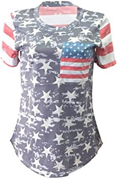 POPTEM Womens Casual American Flag T Shirt 4th of July Short Sleeve Tee USA Patriotic Summer Blouse Tops Gray at Amazon Women's Clothing store