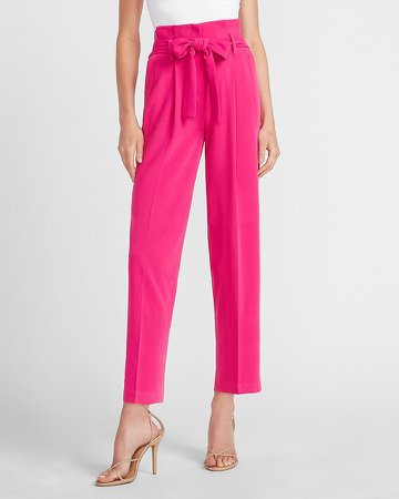 High Waisted Belted Ankle Paperbag Pant