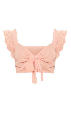 Peach Chiffon Frill Tie Front Bralet | Tops | PrettyLittleThing