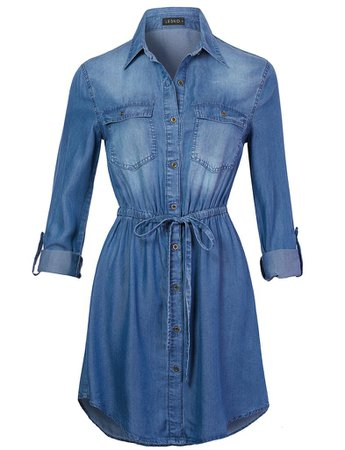 LE3NO Womens Long Sleeve Button Up Tencel Denim Shirt Dress with Adjustable Drawstring | LE3NO blue