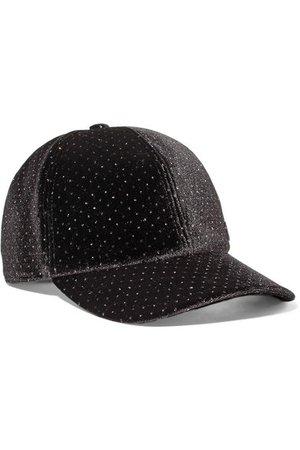 Maison Michel | Tiger Bow crystal-embellished velvet cap | NET-A-PORTER.COM