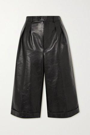 Black Pleated leather shorts | SAINT LAURENT | NET-A-PORTER