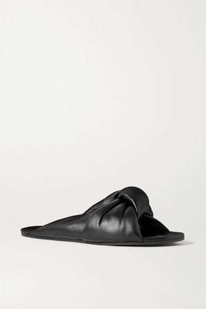 Drapy Knotted Leather Sandals - Black