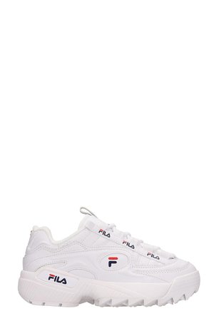 Fila White Leather D-formation Sneakers