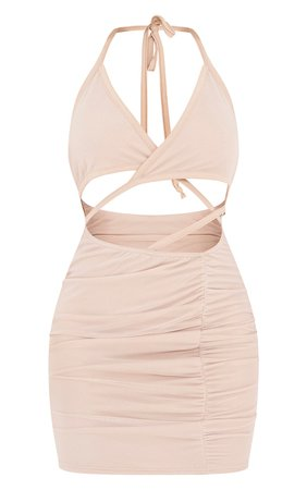 Stone Mesh Crepe Plunge Cut Out Bodycon Dress   PrettyLittleThing USA