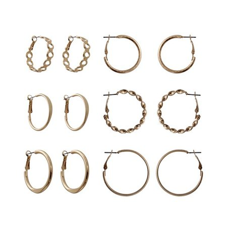 Time and Tru - Time and Tru Gold Tone 6 Pair Hoop Earring Set - Walmart.com - Walmart.com