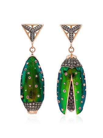 ShopBibi van der Velden 18kt rose gold Scarab drop earrings with Express Delivery - Farfetch