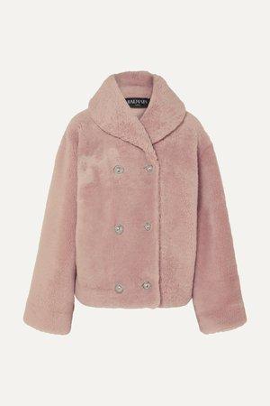 Pink Double-breasted shearling coat | Balmain | NET-A-PORTER