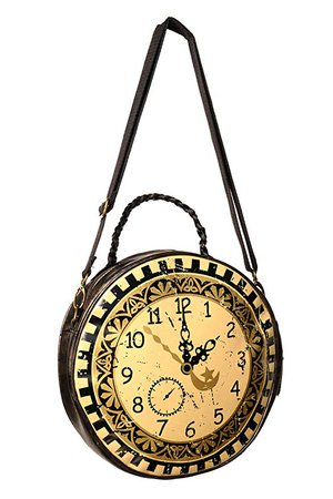 Amazon.com: Banned Clock Circular Round Bag - Brown / One Size: Clothing