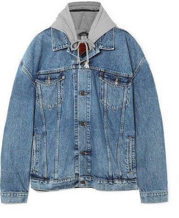 Vetements Oversized appliquéd hooded denim and jersey jacket