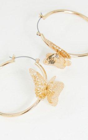 Gold Butterfly Medium Hoop Earrings | PrettyLittleThing USA