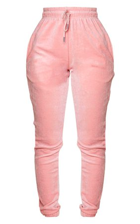Shape Dusty Pink Velour Skinny Jogger   Curve   PrettyLittleThing USA