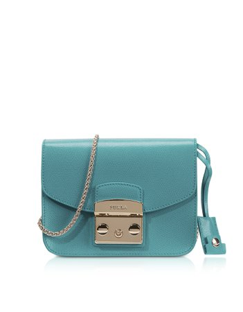 Metropolis Aquamarine Blue Leather Shoulder Bag