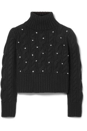 Rosie Assoulin - Cropped Polka-dot Cable-knit Cashmere Turtleneck Sweater - Black