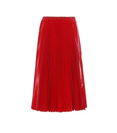 Pleated nylon midi skirt