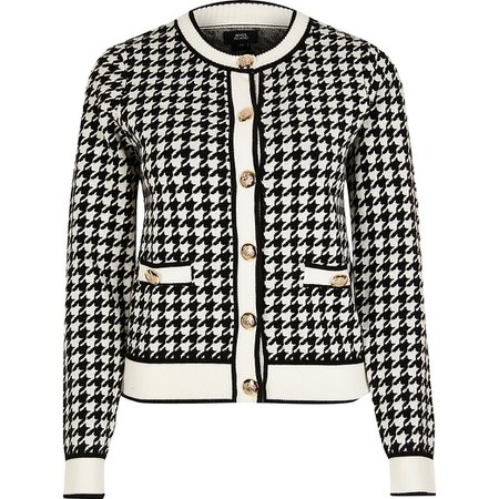Black dogtooth gold button detail cardigan | River Island