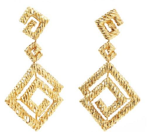 PARTICULIERES 18kt Gold Greek Key Pendant Earrings