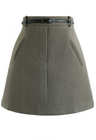 Belted Fake Pockets Mini Skirt in Olive - NEW ARRIVALS - Retro, Indie and Unique Fashion