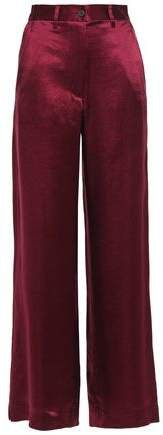 Crinkled-satin Wide-leg Pants