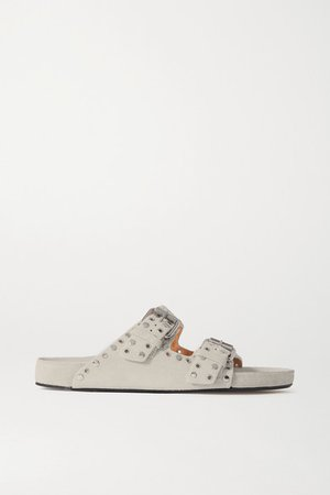 Lennyo Studded Suede Slides - Off-white