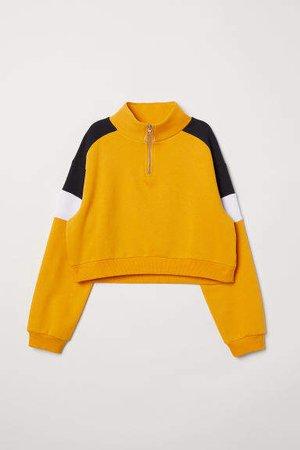 Stand-up Collar Sweatshirt - Yellow