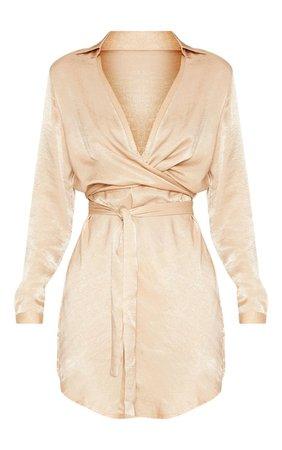 Champagne Satin Wrap Shift Dress | Dresses | PrettyLittleThing USA