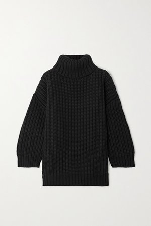 Black Ribbed wool and cashmere-blend turtleneck mini dress   Dolce & Gabbana   NET-A-PORTER