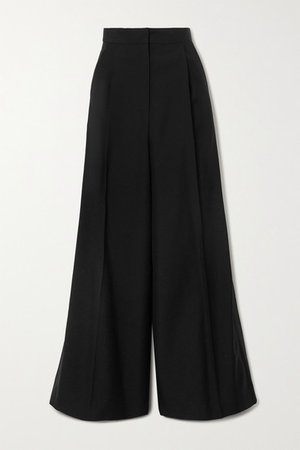 Satin-trimmed Wool Wide-leg Pants - Black