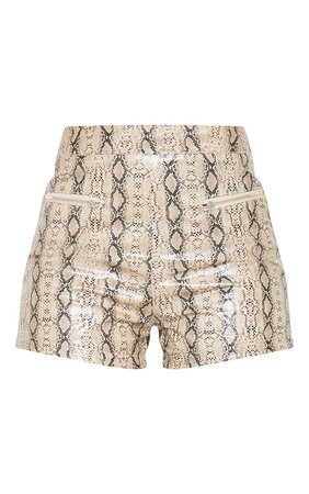 Stone Faux Leather Snake Print Hotpant   PrettyLittleThing USA