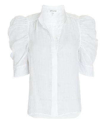 FRAME Gillian Ramie Puff Sleeve Blouse   INTERMIX®