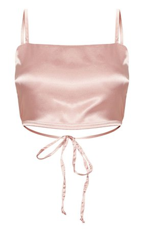 Rose Gold Satin Backless Crop Top   Tops   PrettyLittleThing