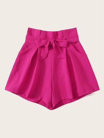 Neon Pink Paperbag Waist Shorts | SHEIN