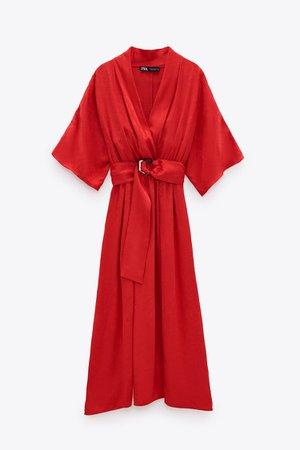 JACQUARD DRESS WITH BELT | ZARA United Kingdom