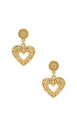 Vanessa Mooney The Charlotte Heart Earrings in Gold | REVOLVE