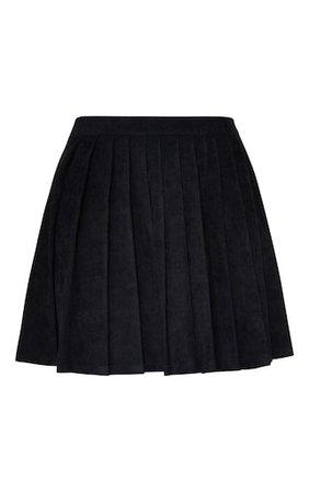 Black Cord Pleated Skater Skirt | Skirts | PrettyLittleThing