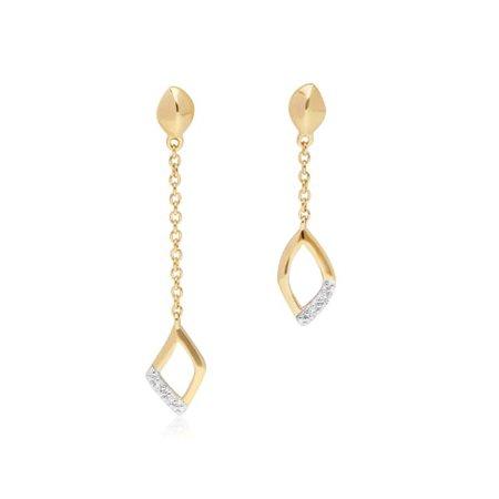 Асимметричные серьги с бриллиантами Pave Dangle из желтого золота | Гемондо | Волк и барсук