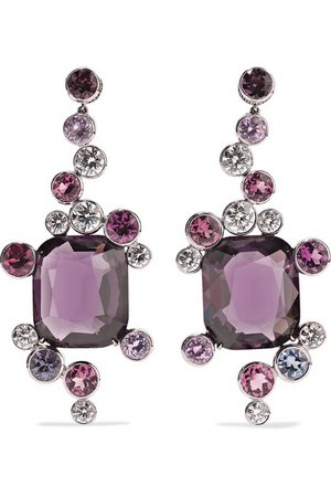 Martin Katz | 18-karat white gold multi-stone earrings | NET-A-PORTER.COM