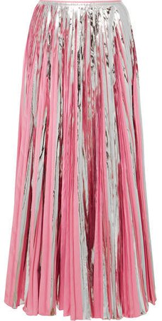 Pleated Metallic Coated-crepe De Chine Midi Skirt - Pink