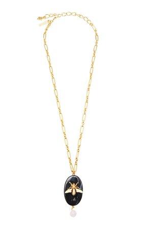 Oval Fly Stone Necklace by Oscar de la Renta | Moda Operandi