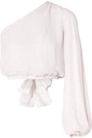 Kathleen One-shoulder Satin-trimmed Sequined Chiffon Top - White