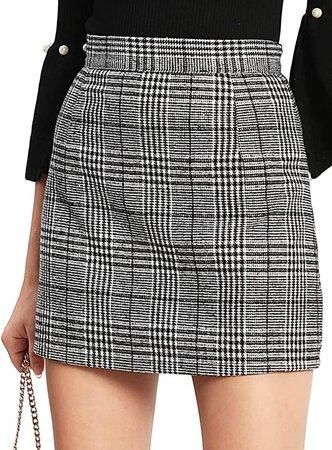 Floerns Women's Plaid High Waist Bodycon Mini Skirt Grey S at Amazon Women's Clothing store