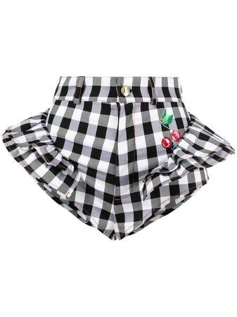 Gcds checker-print micro shorts black & white SS21W030036 - Farfetch