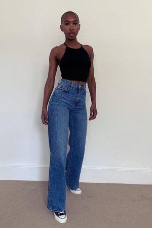 Mid Blue Slim Wide Leg Jeans | Topshop